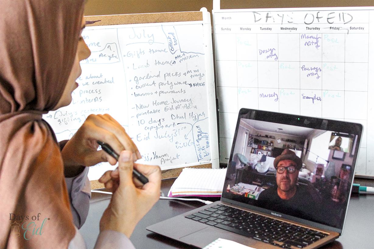 Founder Reem facetiming with designer Bill