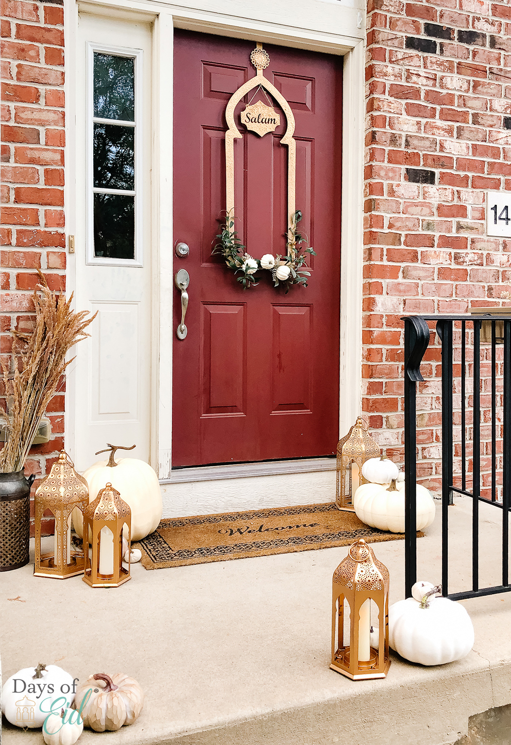 Door decorated with Ramadan wreath, flowers, lanterns, white pumpkins, and other fall accents
