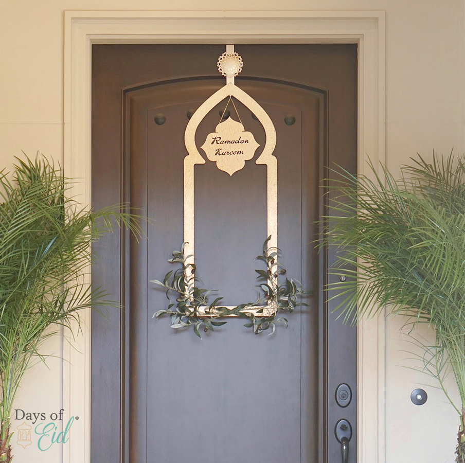 Ramadan wreath hung on door