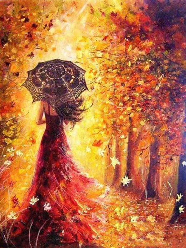 Malen nach Zahlen Herbstfrau