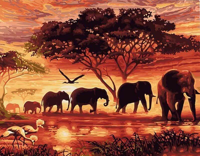 Malen nach Zahlen Elefanten in Afrika