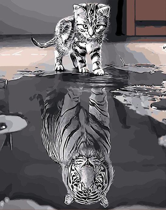 Schwarz Weiß Katze Löwe