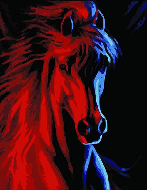 Malen nach Zahlen Pferd dunkel