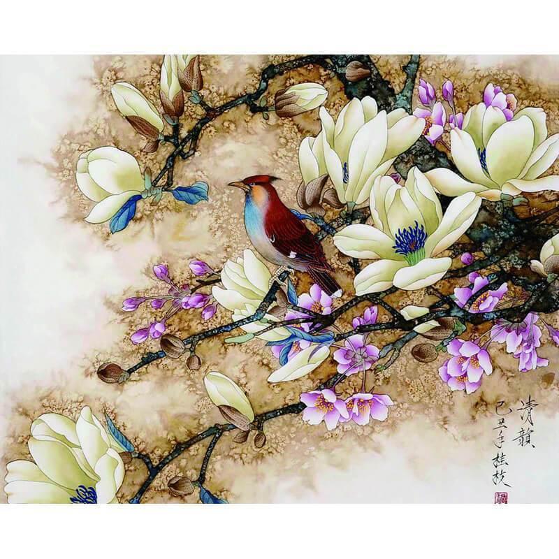MalennachZahlen-VogelaufBlüten