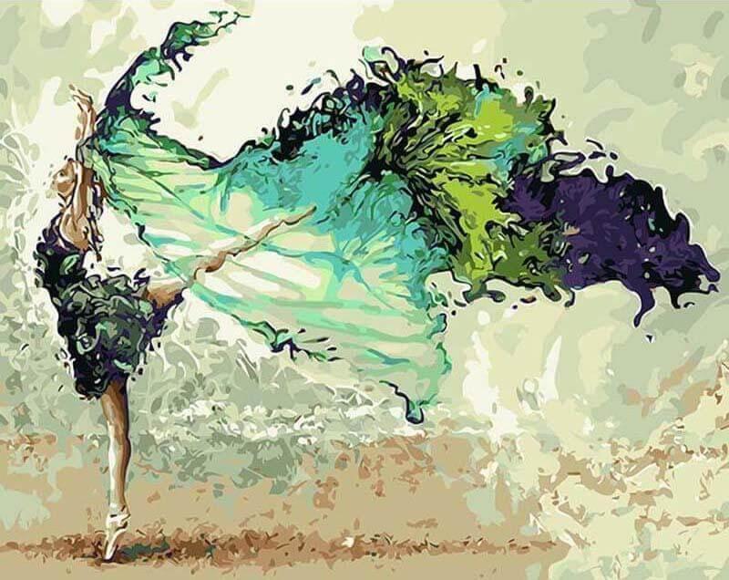 Malen nach Zahlen grüne Tänzerin