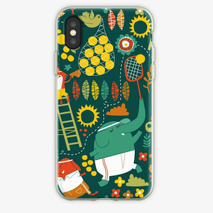 Phone case with tennis illustrations