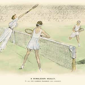 Drawing of old fashioned tennis players playing doubles