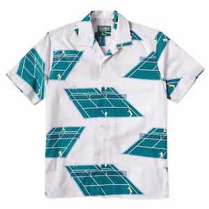 Polo shirt with tennis courts all over it