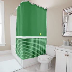 Tennis court green shower curtain