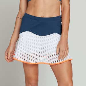 Blue and white tennis skirt with orange trim