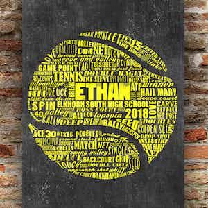 Name collage in the shape of a tennis ball