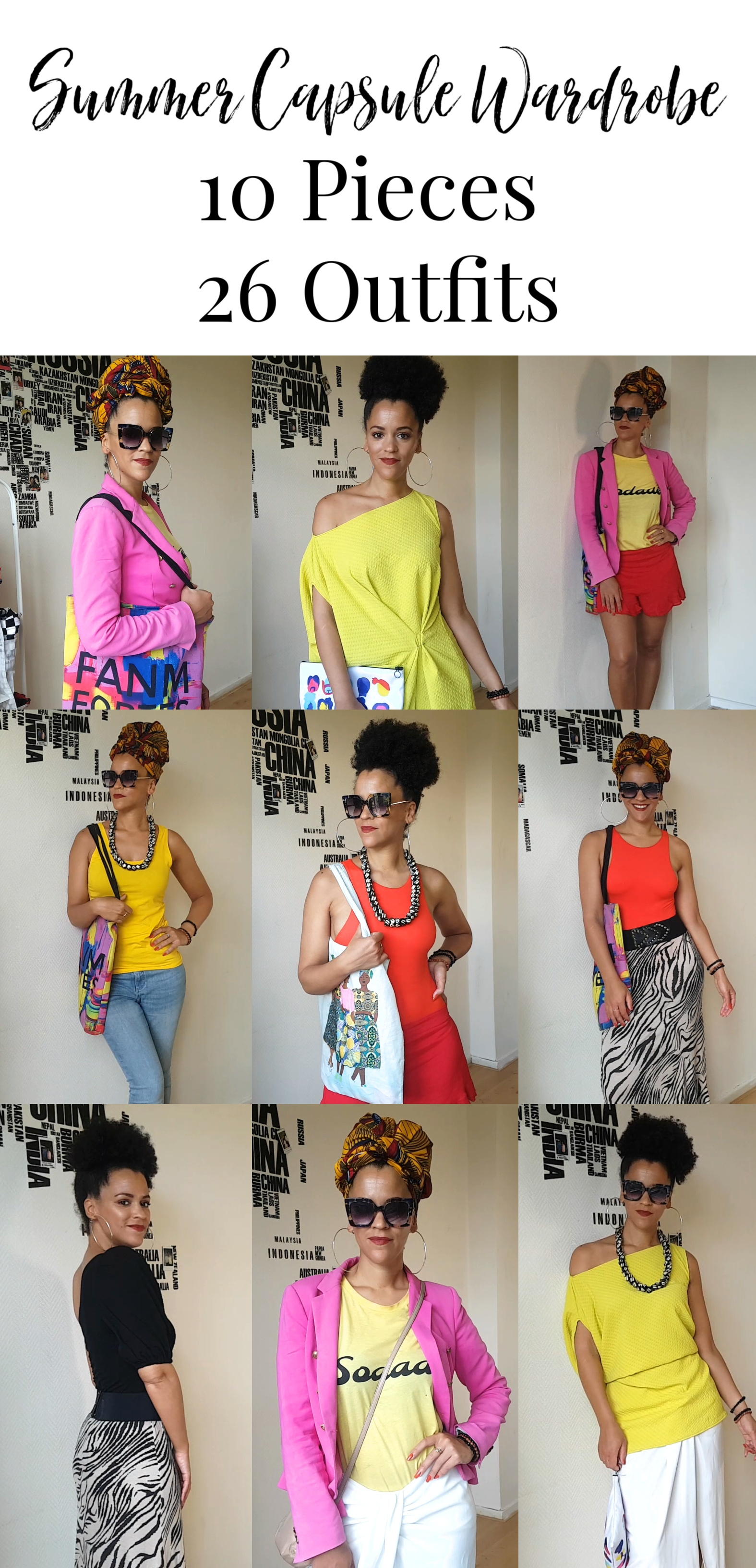 10 Pieces, 26 Colorful Summer Capsule Wardrobe | Summer Outfit Ideas Lookbook