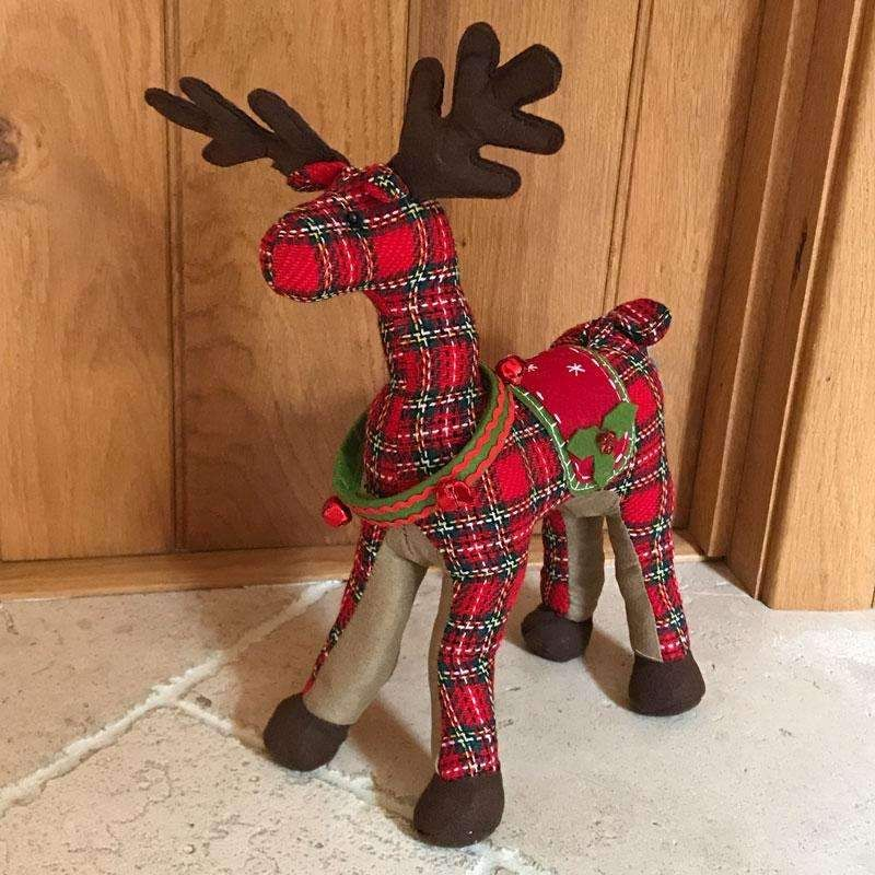 Red Tartan Fabric Reindeer