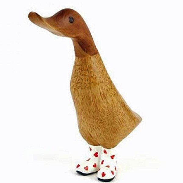 Natural Welly Duckling in Red Hearts Wellies