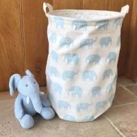 Gisela Graham Blue Elephant Round Fabric Storage Tub