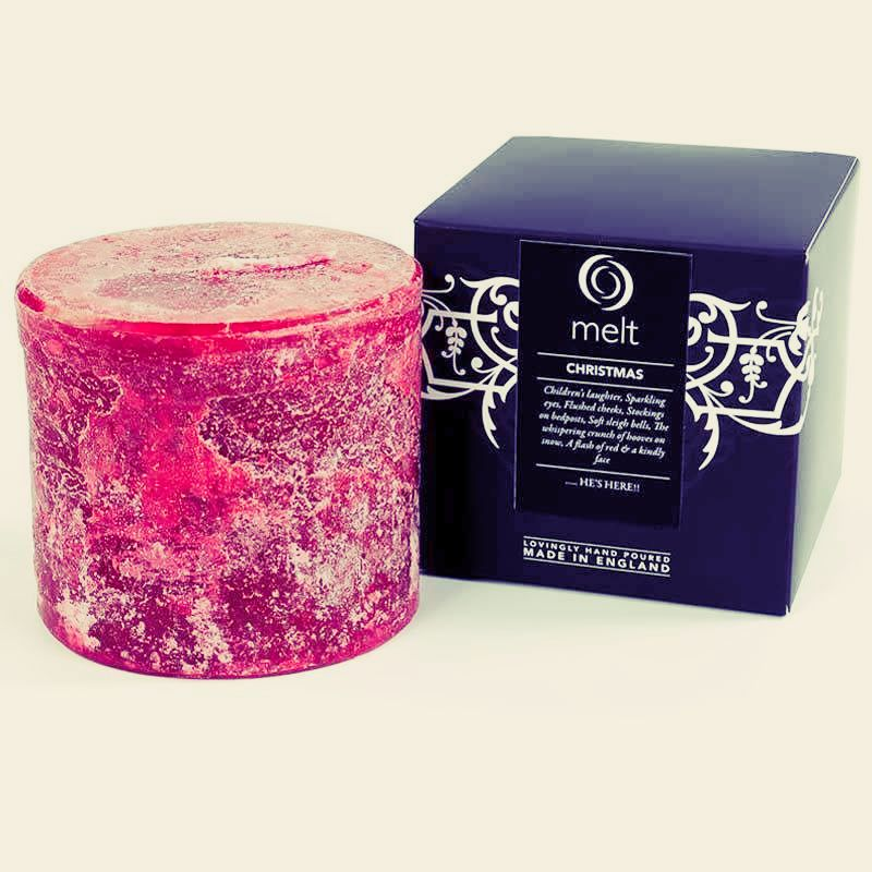 Melt Christmas Short & Fat Red Candle