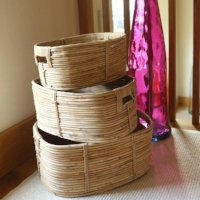 Lene Bjerre Organic Rattan Oval Storage Baskets (Set of 3)