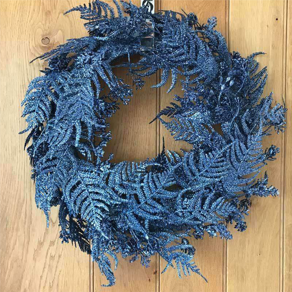 Gisela Graham Dark Blue Glitter Fern Wreath