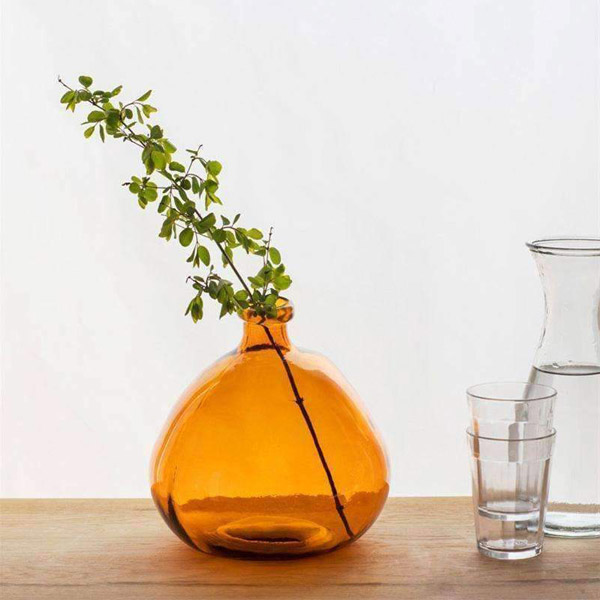 Recycled Bubble Glass Vase in Amber