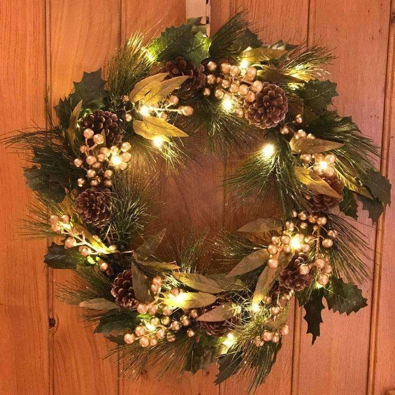 Gisela Graham Matt Gold Fir Leaf and Berry Cone LED Wreath