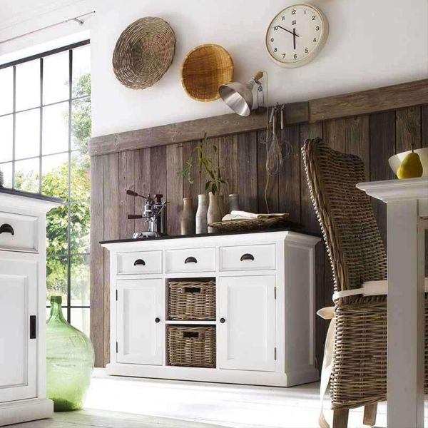 Halifax Contrast White Painted Buffet Sideboard with Rattan Baskets