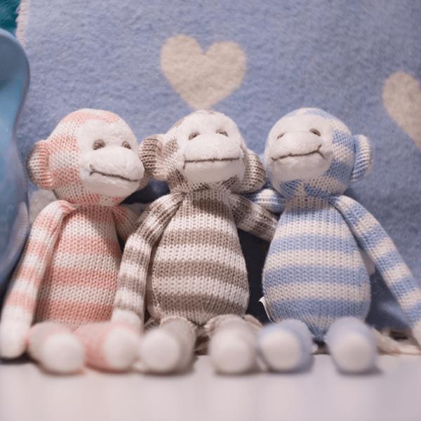 Gisela Graham Blue Stripey Monkey Knitted Toy