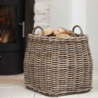 Large Square Tapered Rattan Log Basket
