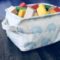 Gisela Graham Blue Elephant Small Rectangular Fabric Storage Tub