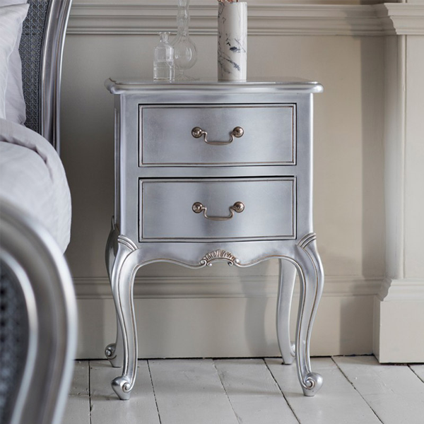 Chic Bedside Table- Silver