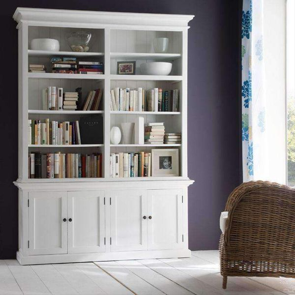 Halifax White Painted Double Bay Hutch Display Unit