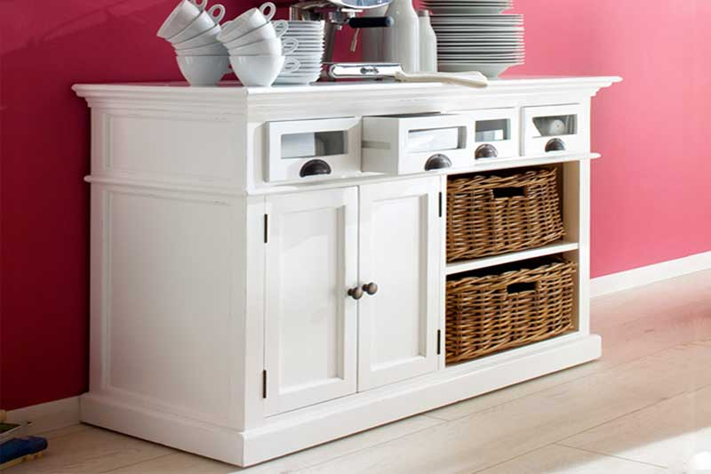 Halifax White Painted Kitchen Buffet Unit with Rattan Baskets