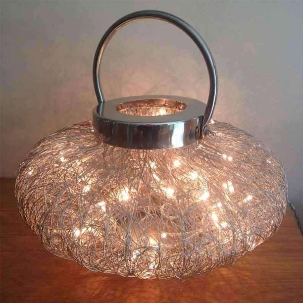 Wire Weave Lamp with Fairy Lights