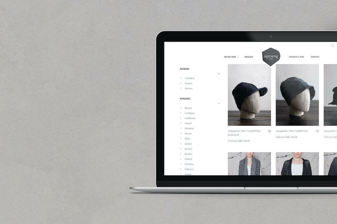 Online Shop mit Filterfunktion | eigensinnig wien