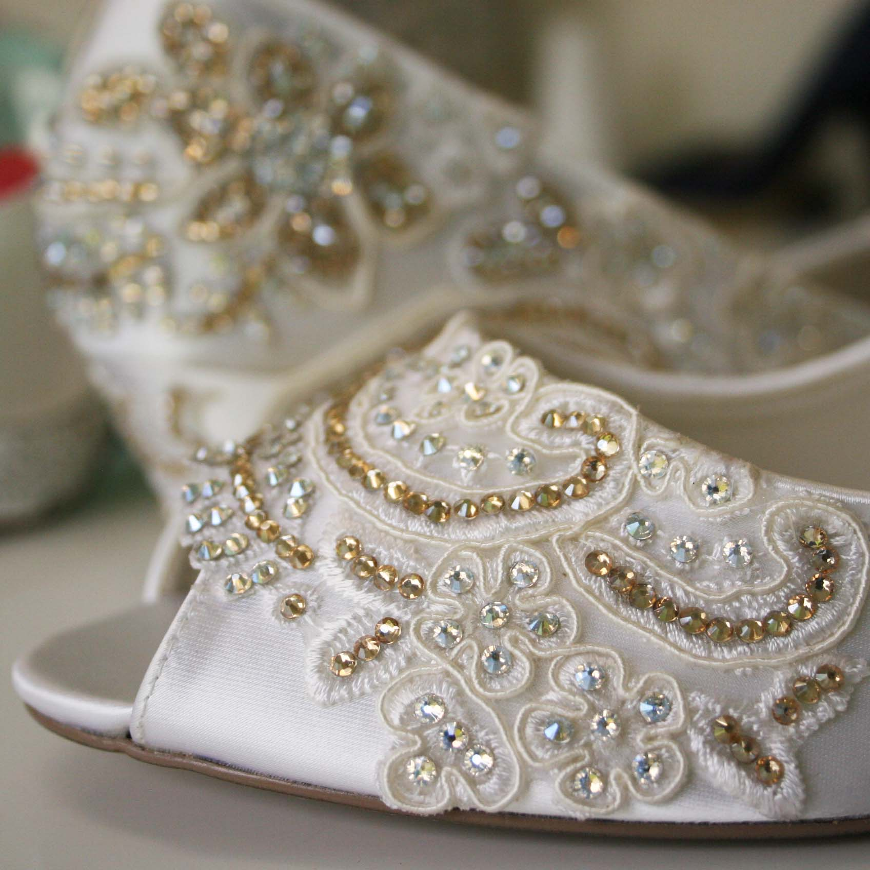 Crystal Wedge Wedding Shoes Custom Wedding Shoes by Ellie Wren