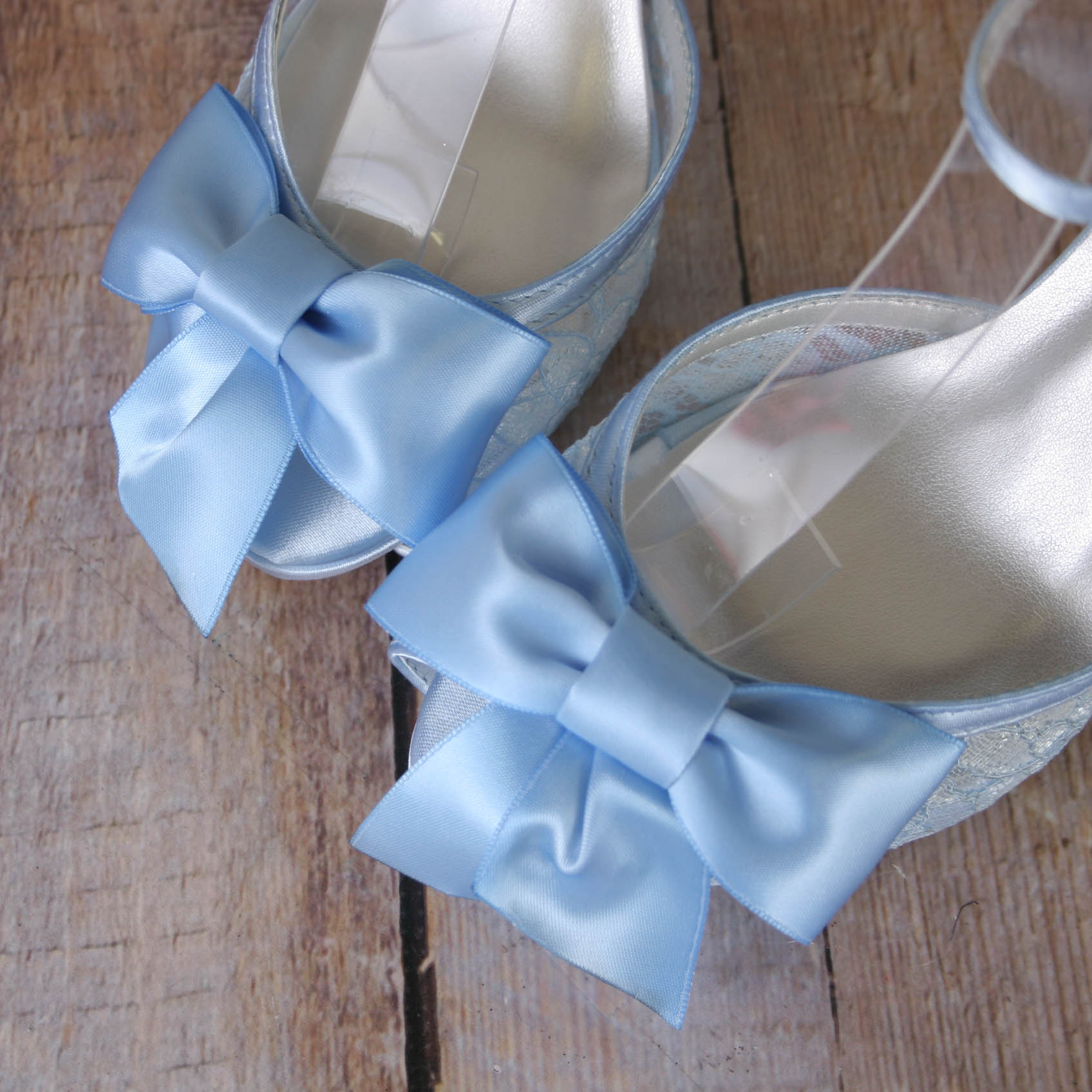 Light Blue Something Blue Wedding Shoes Open Toe Platform Bridal Heels with Matching Bow Comfortable Custom Wedding Shoes by Ellie Wren