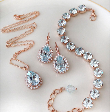Set: Bracelet, Earrings, Necklace, Swarovski, pale icy blue, pale, teal, azure, rose gold, crystal, tennis bracelet, bridal, something blue