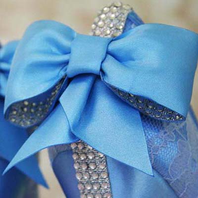 Blue Lace Wedding Shoes with Matching Bow and Crystal Accents on Heel Custom Wedding Shoes by Ellie Wren