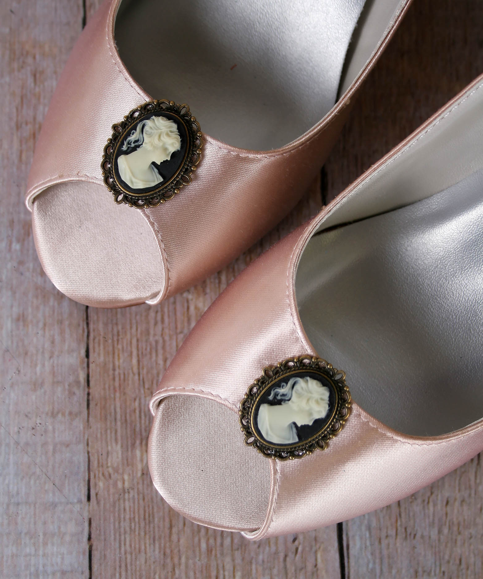 Bridal Wedges in Blush with Cameo Brooch Vintage Bridal Wedges Custom Designed by Ellie Wren