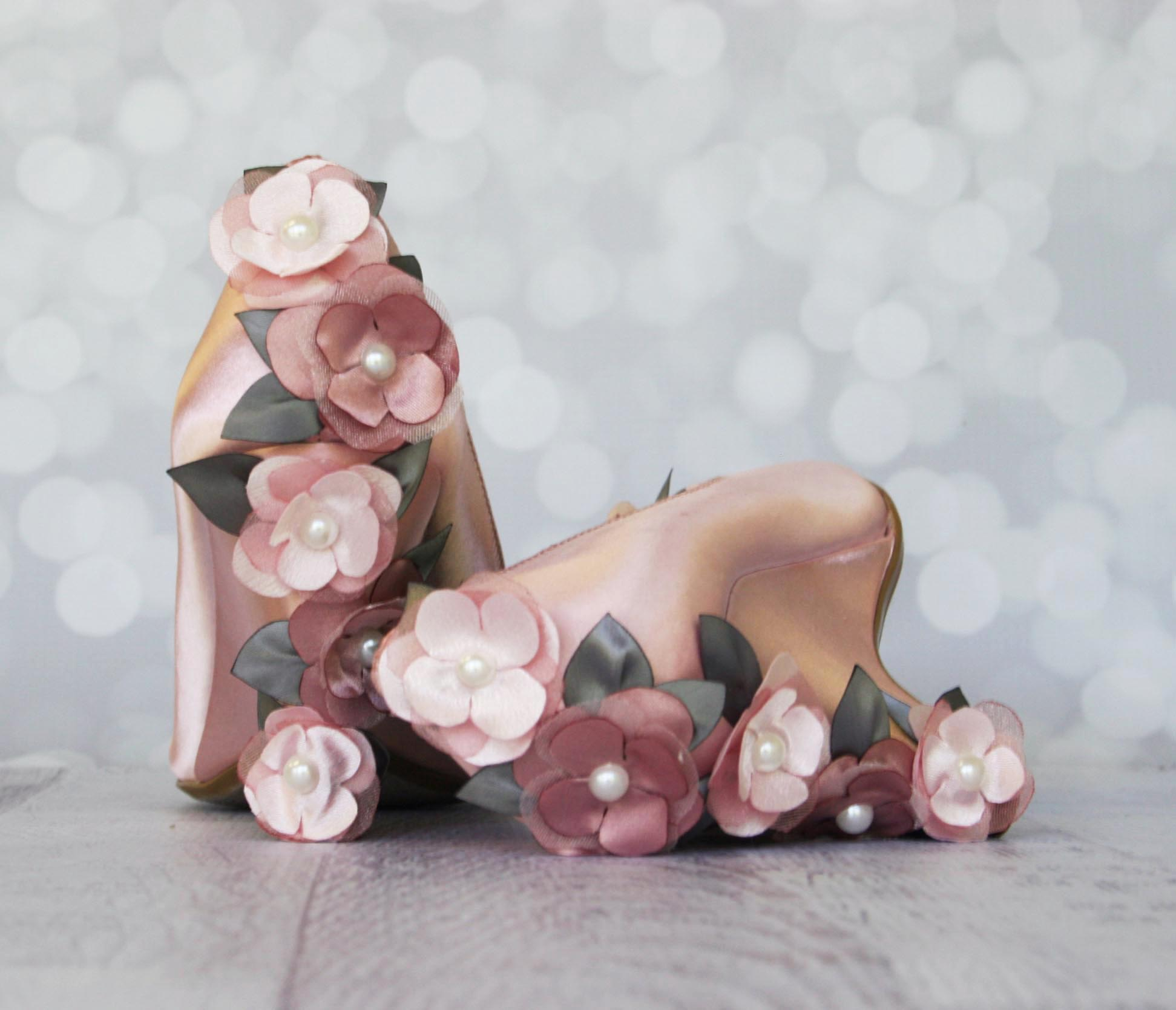 Custom Bridal Wedges Antique Pink Wedding Wedges with Gray and Pink Flower Heels Custom Wedding Shoes by Ellie Wren