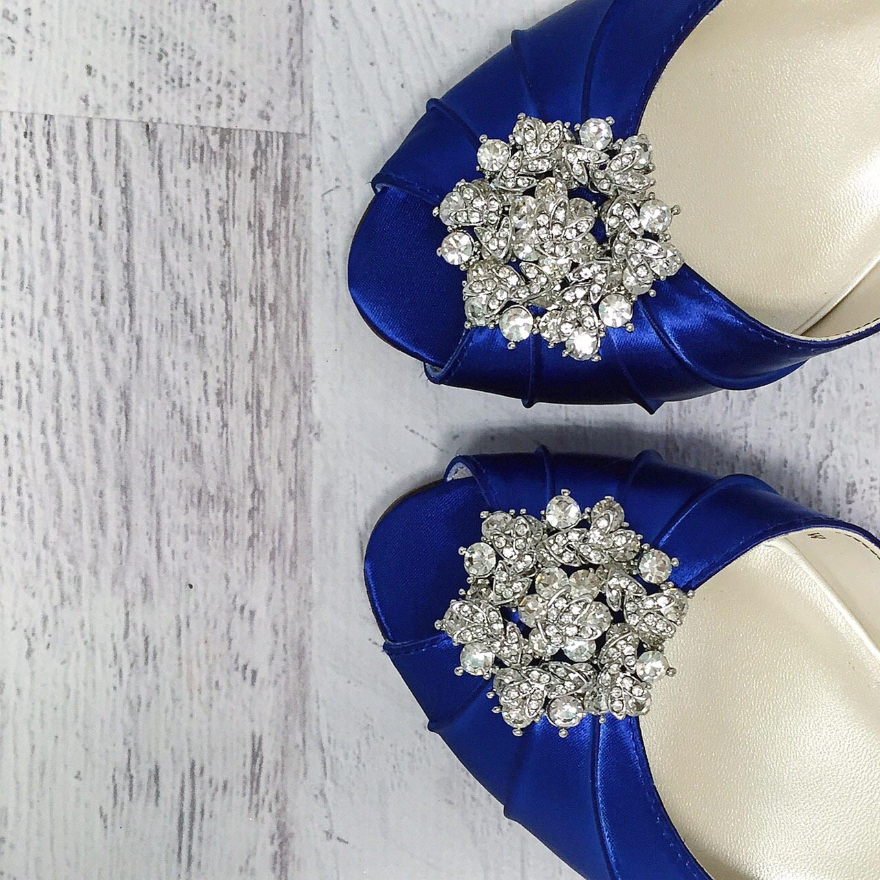 Royal Blue Open Toe Low Heel Wedding Shoes with Silver Crystal Brooch Comfortable Custom Wedding Shoes by Ellie Wren