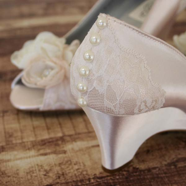 Blush Bridal Wedges with Lace Custom Wedding Shoes by Ellie Wren