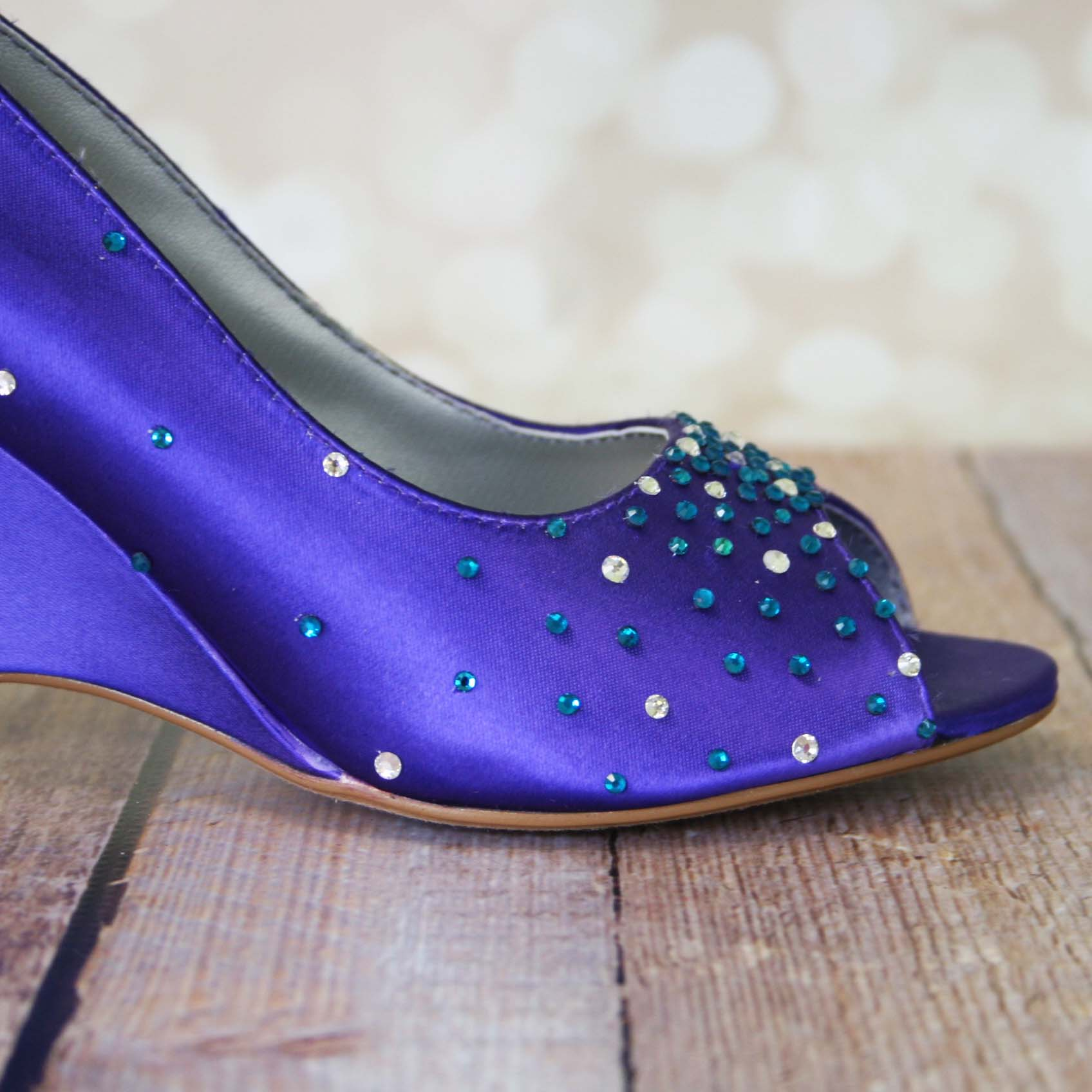 Purple Wedge Wedding Shoes with Bright Color Crystal Accents Custom Wedding Shoes by Ellie Wren