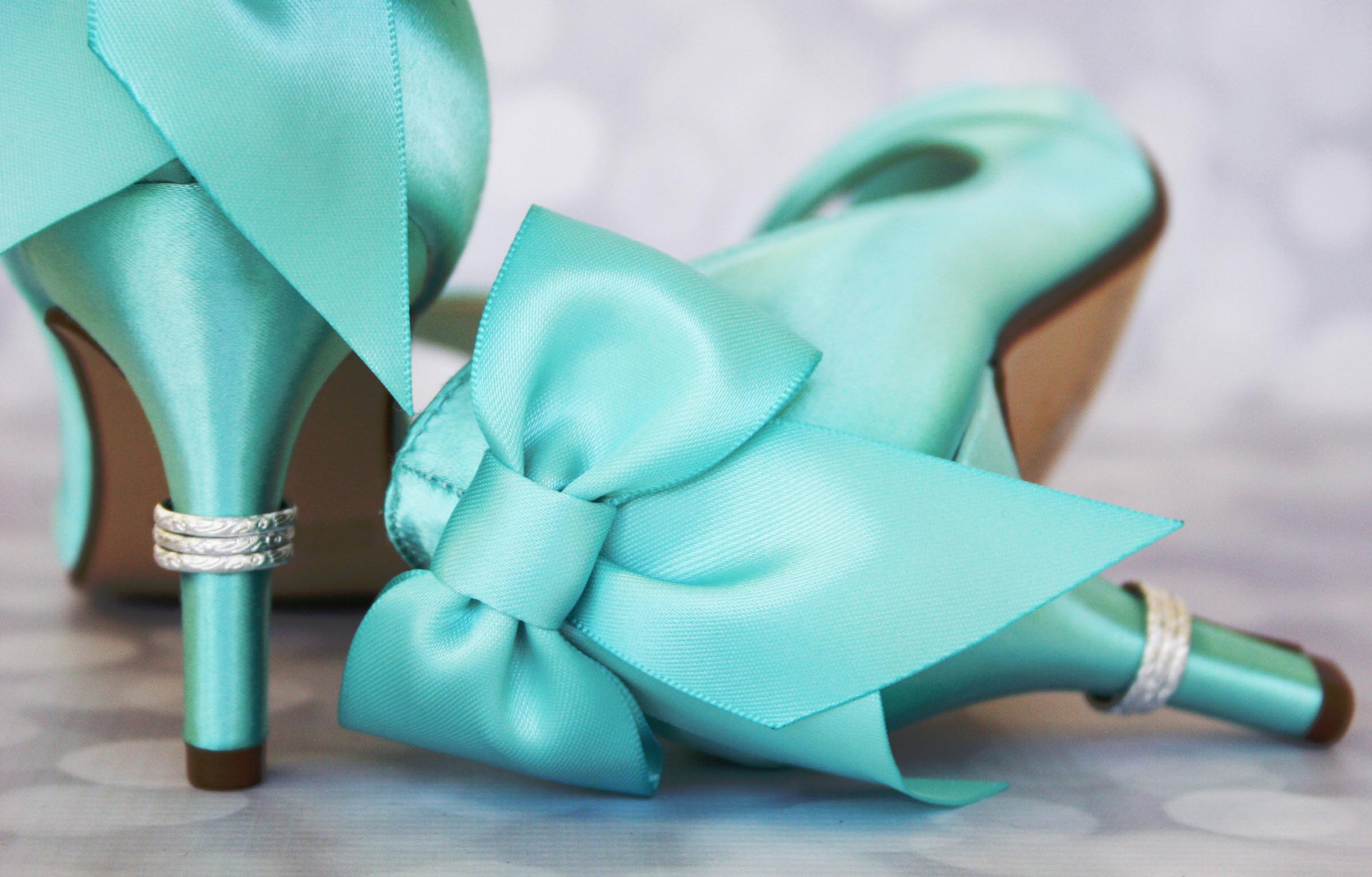 Aqua Blue Something Blue Wedding Shoe Wedges with Matching Bow Open Toe Comfortable Custom Wedding Shoes by Ellie Wren