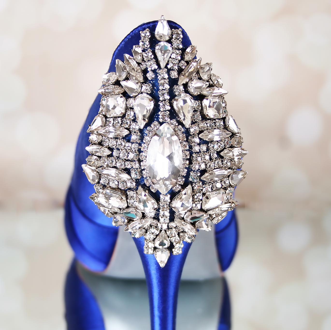 Royal Blue Open Toe Platform Wedding Shoes with Crystal Heel Something Blue Wedding Shoes by Ellie Wren