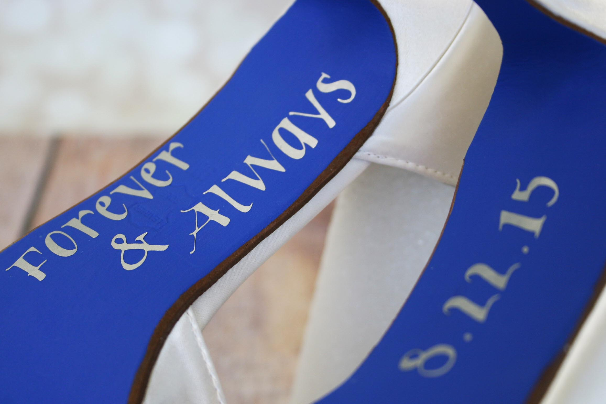 Something Blue Wedding Shoes With Blue Sole and Message Written on the Soles Custom Wedding Shoes by Ellie Wren