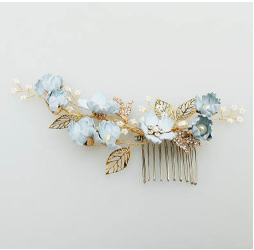 Something blue hair comb, Bridal hair accessories, Blue flowers with pearl and gold leaf