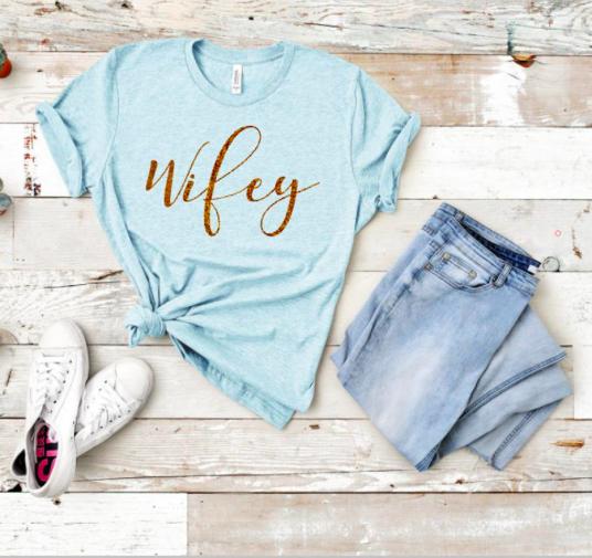 Mrs Shirt Honeymoon Shirt Something Blue Wedding Gift Just Married Honeymoon Gift Gift for Honeymoon Bridal Shower Gift Wifey