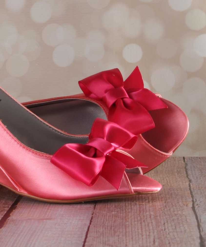 Coral Wedge Wedding Shoes with Fuchsia Bow on Toe Custom Wedding Shoes by Ellie Wren