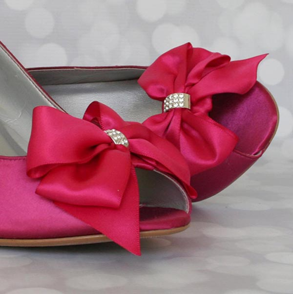 Fuchsia Pink Bridal Wedges with Large Bow Custom Wedding Shoes by Ellie Wren