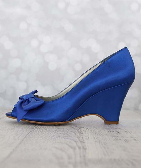 Royal Blue Wedge Wedding Shoes with Matching Blue Bow Open Toe Wedges Custom Wedding Shoes by Ellie Wren